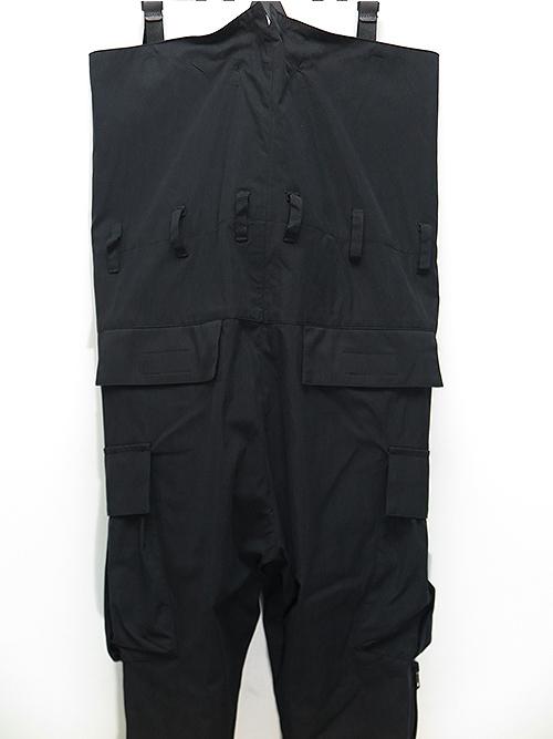 nude:masahiko maruyama・ヌード:マサヒコマルヤマ/綿ナイロンオックスフォードHIGH WAIST PANTS W/LEATHER SUSPENDER/BLACK.