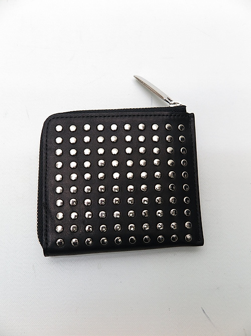 PATRICK STEPHAN(パトリックステファン)/COW HIDE Leather L-zip wallet 'all-studs'・シルバー.