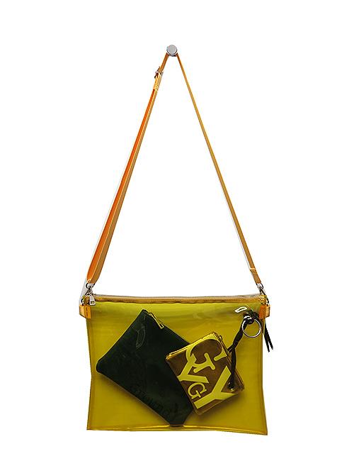 Ground Y・グラウンドワイ・PVC shoulder bag 3-pie/イエロー