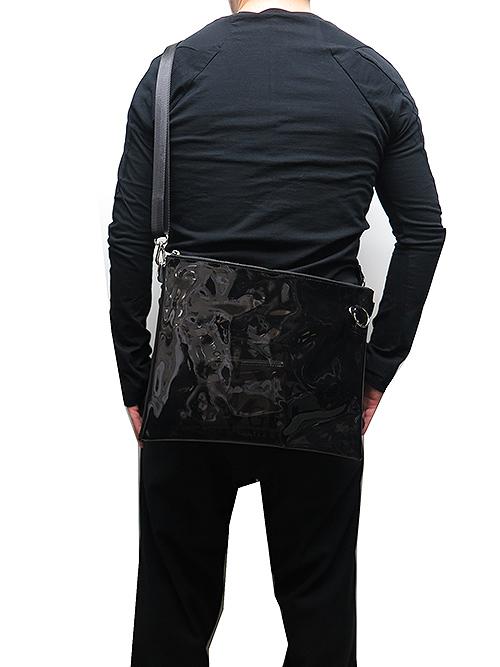 Ground Y・グラウンドワイ・PVC shoulder bag 3-pie/ブラック.