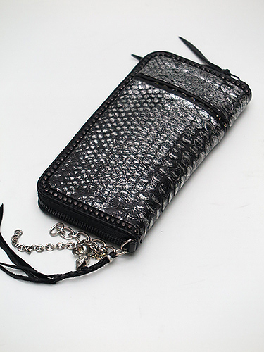 SALE20%OFF/KMRii(ケムリ)Snake Skin Goat Skin WR Chrome Diamond Wallet/SLV.