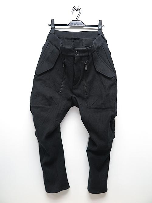 D.HYGEN・ディーハイゲン/甘織デニムマルチポケットカーゴクロップドパンツ/BLACK