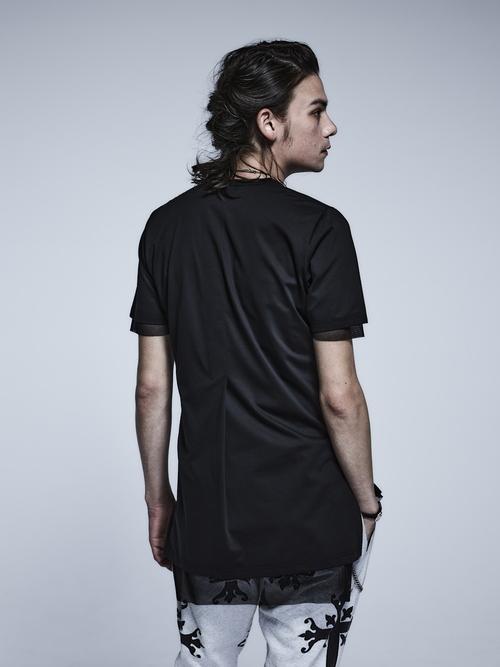 (予約品)3月入荷予定/kiryuyrik・キリュウキリュウ/Mesh+Mesh Layerd T-Shirts/BlackBlack