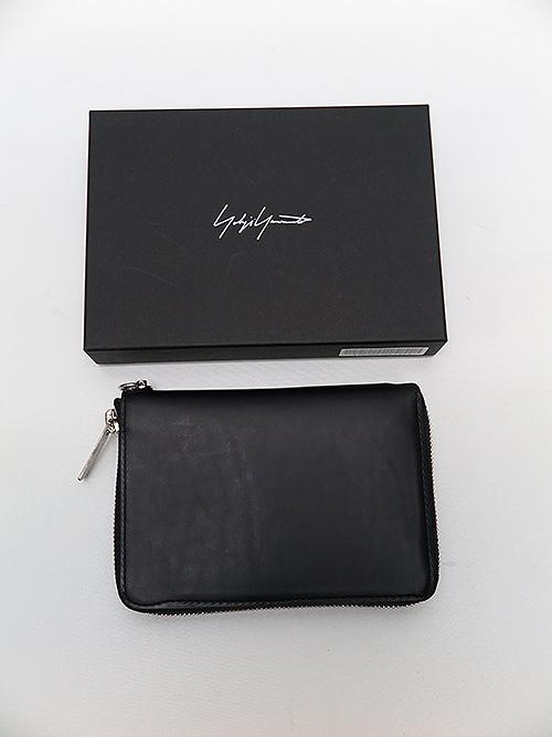 Yohji Yamamoto・ヨウジヤマモト/厚口素上げファスナーウォレットS・ブラック