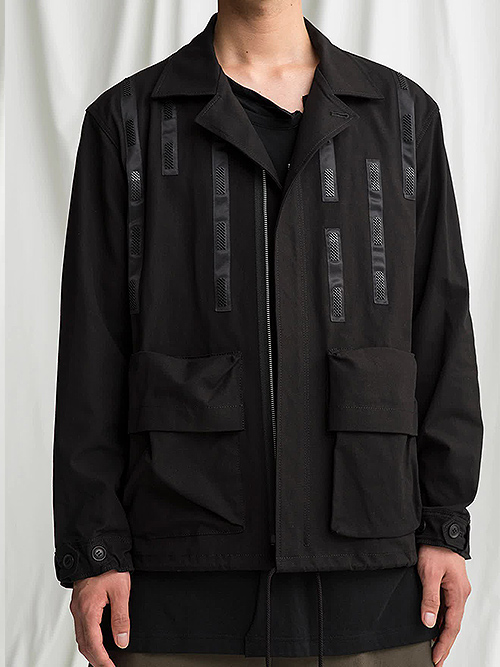 Ground Y・グラウンドワイ/Cotton canvas Open collar pocket Jacket/BLACK.