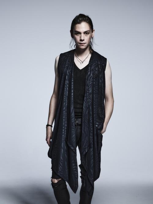 (予約品)3月入荷予定/kiryuyrik・キリュウキリュウ/Zebara Emboss Jersey Wrap Flare NoSleeve Cardigane/Black