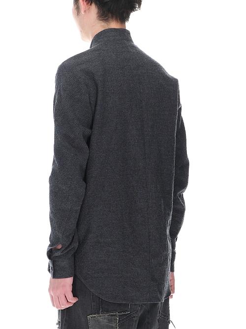 D.HYGEN・ディーハイゲン/ウール×コットンディンプルワッシャーバンドカラーシャツ/BLACK