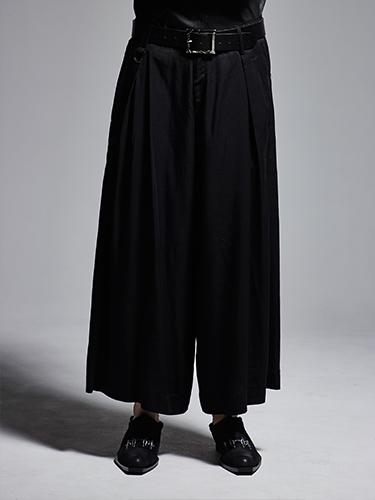 (予約品)10月入荷予定/kiryuyrik・キリュウキリュウ/Gabadine Stretch Wide Tuck SlacksLONG/Black