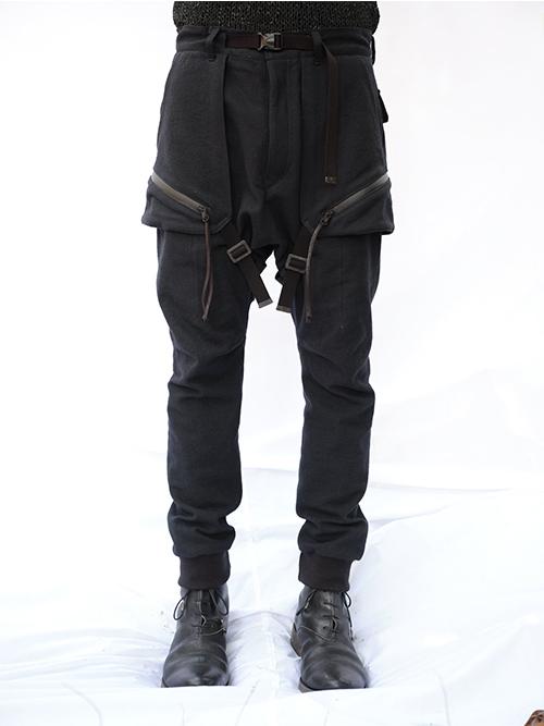 D.HYGEN・ディーハイゲン/コットン×ウールストレッチデニムフラップバッグジョガーパンツ/BLACK