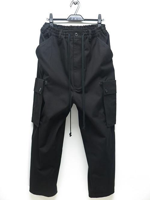Ground Y・グラウンドワイ/Cotton canvas Back tape army Pants/BLACK.
