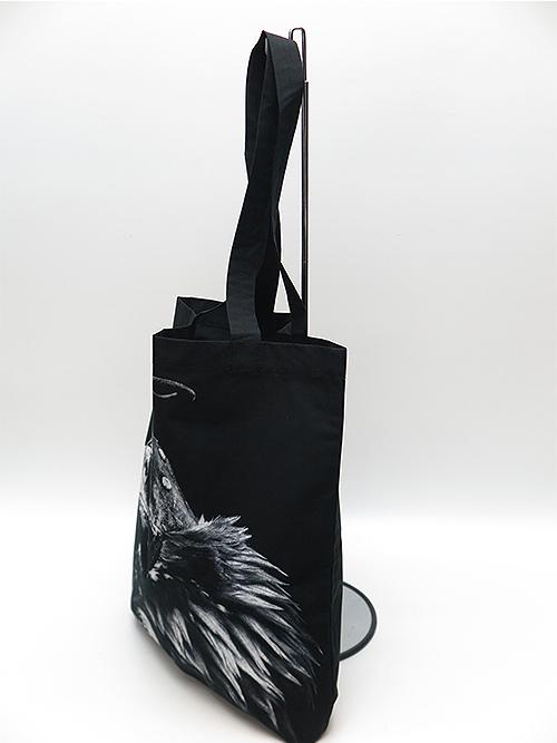 nude:masahiko maruyama・ヌード:マサヒコマルヤマ/コットンタイプライターEAGLE PRINT TOTE BAG/BLACK