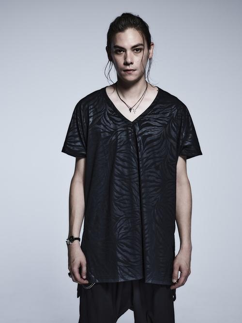 (予約品)3月入荷予定/kiryuyrik・キリュウキリュウ/Zebara Emboss Jersey Loose V Neck T-Shirts/Black
