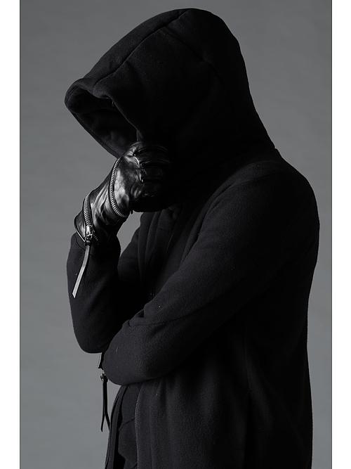 (予約品)7月入荷予定/D.HYGEN・ディーハイゲン/無撚糸裏毛ロングフーデットJKT/BLACK