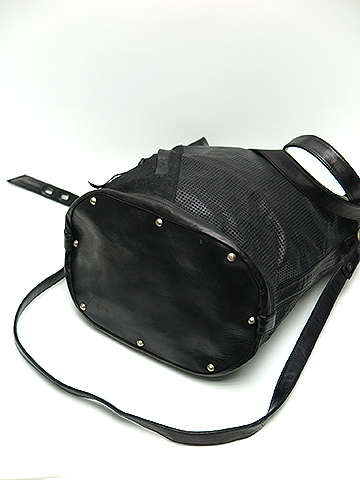 (予約品)2〜3月入荷/KMRii・ケムリ/Goat Leather Black Mesh Long Tote・BLK