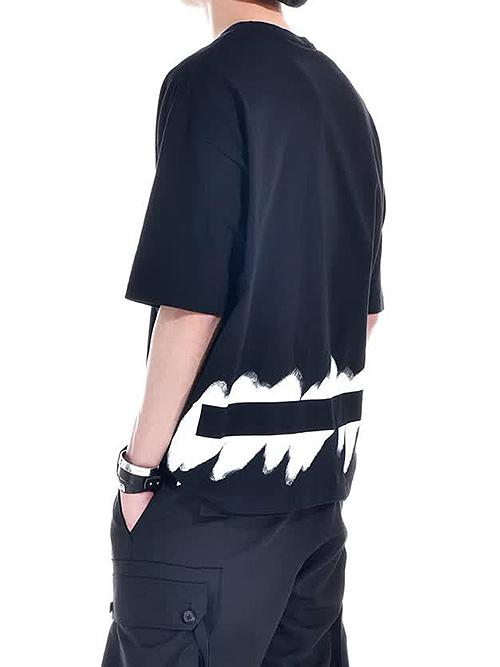 Ground Y・グラウンドワイ・Painted 5.6oz cotton Painted Big T-Shirt/ブラック.