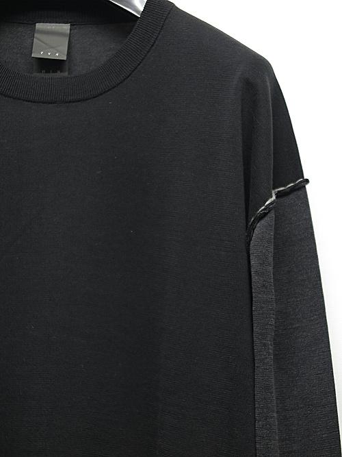 The Viridi-anne・ザ ヴィリディアン/シルク / リネン / コットン ハイゲージ 長袖プルオーバーニット/BLK