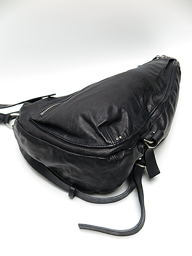 (予約品)2〜3月入荷/KMRii(ケムリ)-BA-Goat Skin Cow Leather Double Zip L.A Bag/BLK
