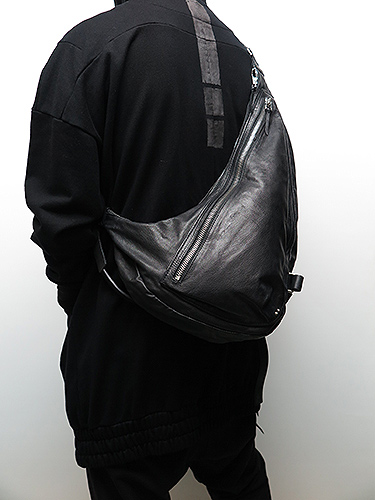 KMRii・ケムリ/Goat Skin Cow Leather Double Zip L.A Bag/BLK