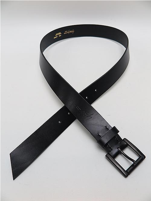 Yohji Yamamoto・ヨウジヤマモト/厚口オイルソフト30MMプレーンBELT/ブラック