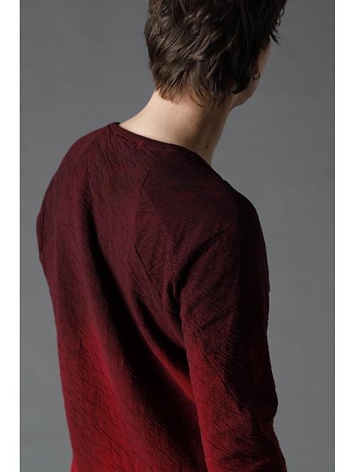 D.HYGEN・ディーハイゲン/接結コットン×ウールジャージーグラデーションダイロングスリーブTシャツ/RED