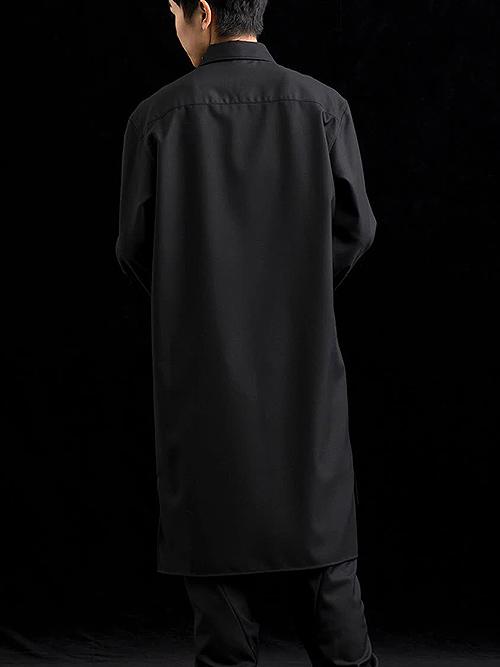 Ground Y・グラウンドワイ/T/W gaberdine Zipper collar Shirts/BLACK