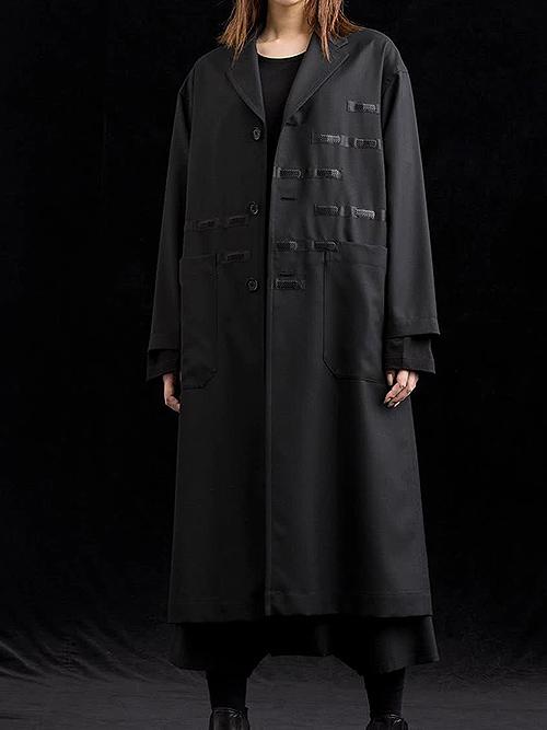 Ground Y・グラウンドワイ/T/W gaberdine Back tape Long shirt Jacket/BLACK