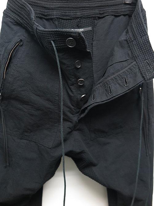 SALE40%OFF/D.HYGEN・ディーハイゲン・ヘビーワッフル×和紙混グログランコンビコールドダイドロップクロッチジョグパンツ・ブラック.