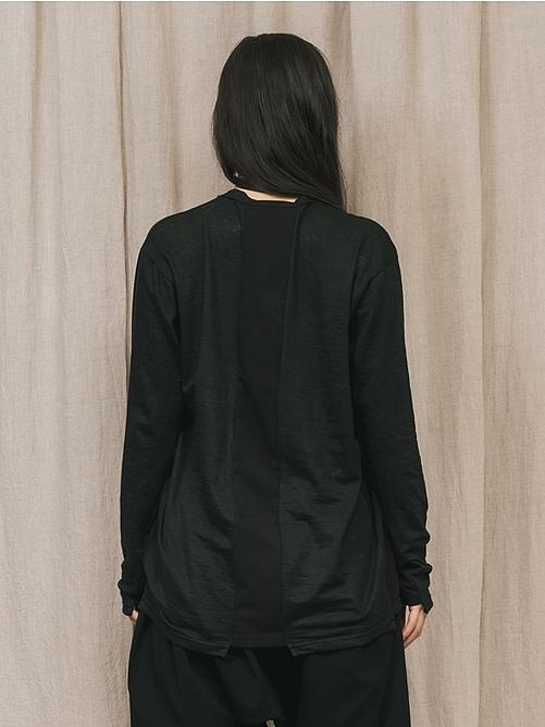 (予約品)2〜3月入荷/nude:masahiko maruyama ・ヌード:マサヒコマルヤマ/LONG SLEEVE T SHIRT/Black