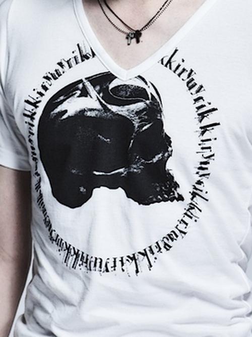 (予約品)12月入荷予定/kiryuyrik・キリュウキリュウ/TENJIKU Skull PRINT V-Neck T-Shirts/White