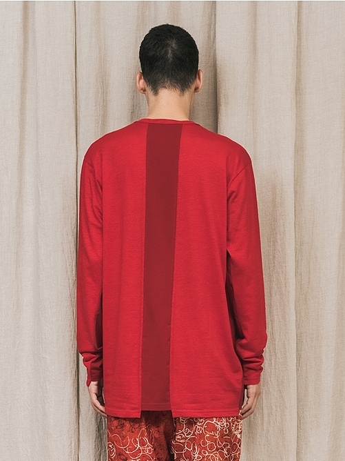 (予約品)2〜3月入荷/nude:masahiko maruyama ・ヌード:マサヒコマルヤマ/LONG SLEEVE T SHIRT/Red