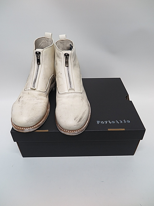 Portaille・ポルタユ/front zip boots Pressed steer(牛革) : dustywhite