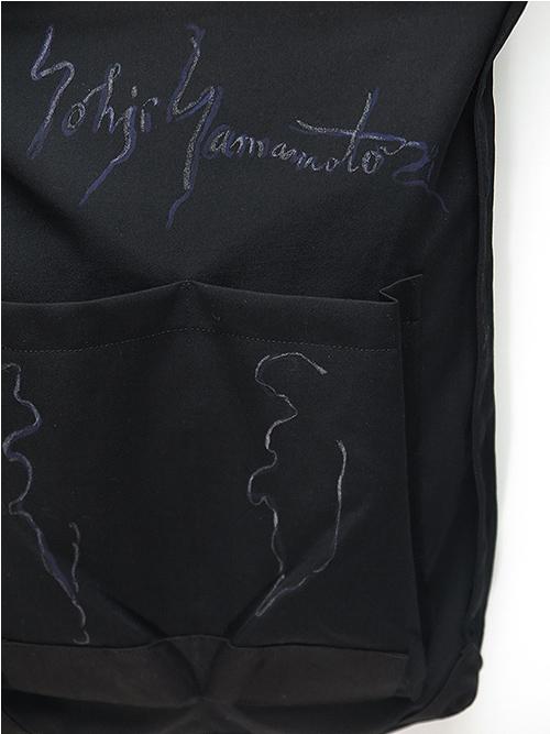 Yohji Yamamoto・ヨウジヤマモト/シワギャバ重ねマチウエストバックB・ブラック