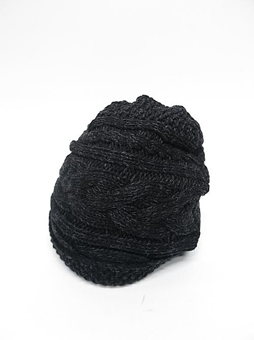 The Viridi-anne・ザ ヴィリディアン/ケーブルニット帽/BLACK