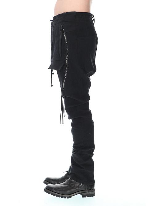 D.HYGEN・ディーハイゲン/ヘビーリネン×コットンハイパーストレッチカーブブッシュパンツ/BLACK
