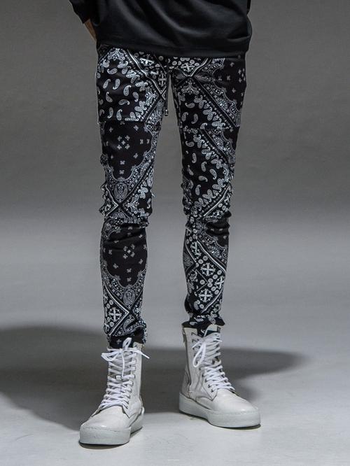 (予約品)9月入荷/RESOUND CLOTHING・リサウンドクロージング/super tight taperd SLASH LINE PT/BANDANA BK