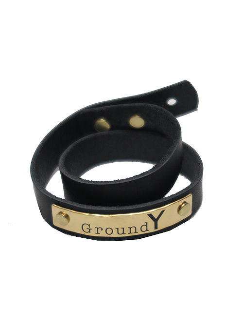 Ground Y・グラウンドワイ・Cow hide Plate leather bracelet/ゴールド