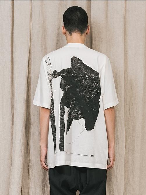 """(予約品)2〜3月入荷/nude:masahiko maruyama ・ヌード:マサヒコマルヤマ/DISTORTION3 """"HIROYA OHJI"""" PRINT OVERSIZED T SHIRT/Off White"""