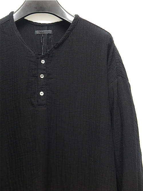 KMRii・ケムリ/Cotton Double Gauze Henry Pullover/BLACK