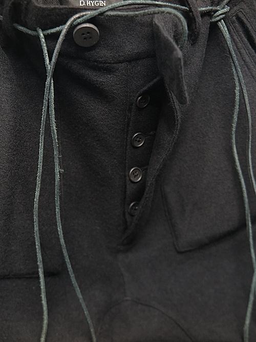 D.HYGEN・ディーハイゲン/カシミヤ混ニットツイストジョガーパンツ/BLACK
