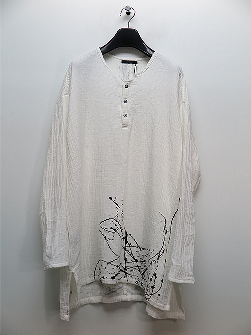KMRii・ケムリ/Cotton Double Gauze Henry Pullover/WHITE.