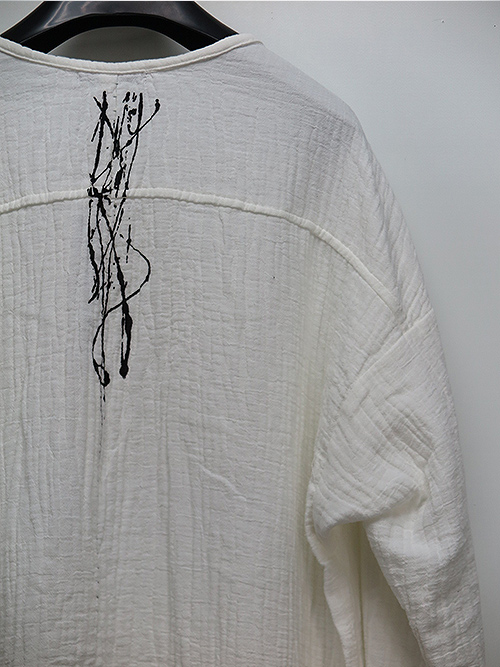 KMRii・ケムリ/Cotton Double Gauze Henry Pullover/WHITE