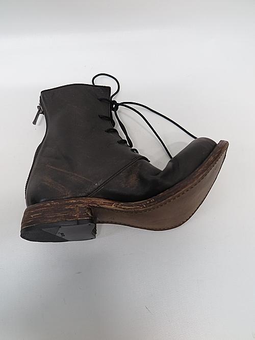 Portaille・ポルタユ/lacedup backzip boots Wipeoff horse(馬革) : black×brown