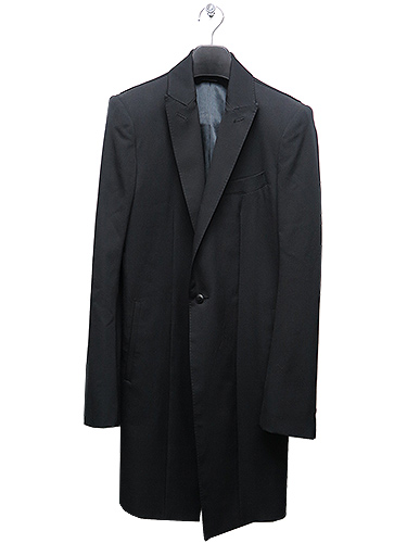 (予約品)10月入荷予定/KiryuyriK・キリュウキリュウ/Gabadine Stretch Long Peacked Jacket/BLACK