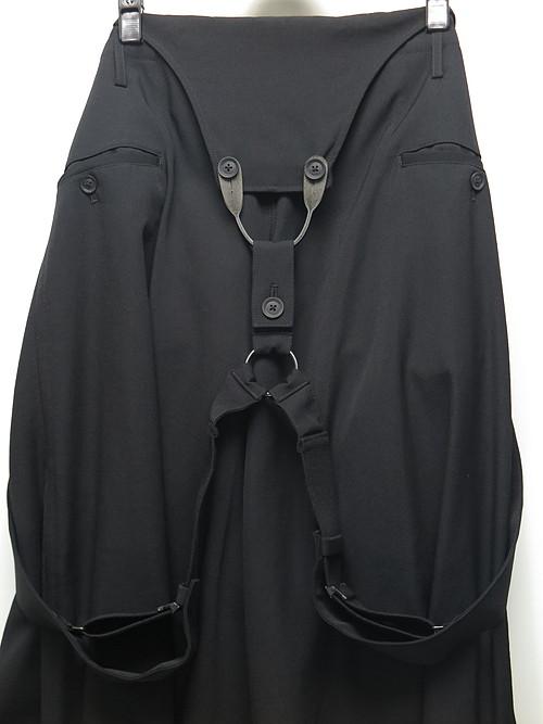 Yohji Yamamoto・ヨウジヤマモト/シワギャバ W-サルエルサスペンダーAパンツ・ブラック