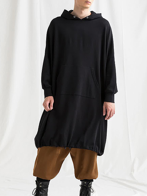 Ground Y・グラウンドワイ/Mini Fleece Pile Big long hoodie/BLACK