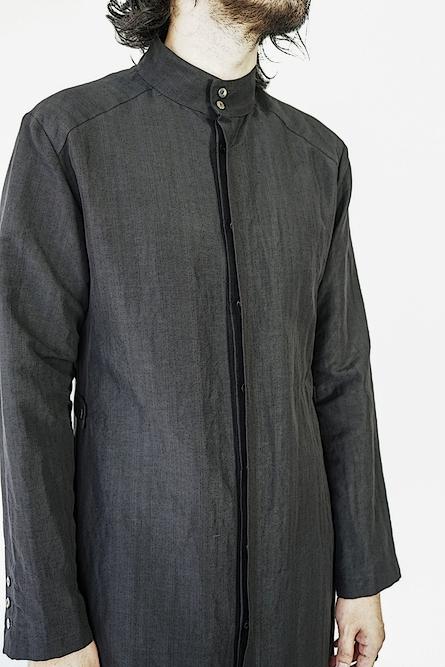 SALE40%OFF/kujaku・クジャク/ linen cotton jinchoge coat/BLK