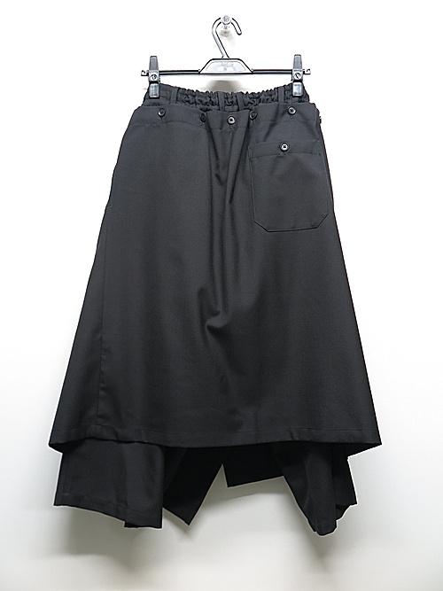 Ground Y・グラウンドワイ/T/W gabardine Detachable skirt pants/BLK