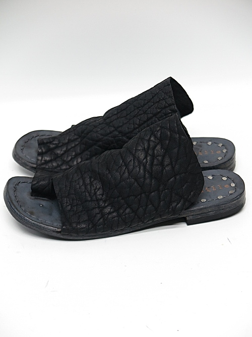 Portaille・ポルタユ/Thong sandals Bull shrink(牛革): Black