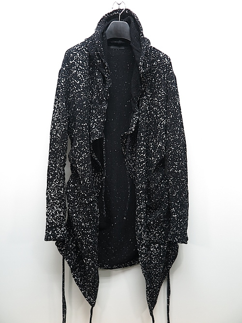 SALE40%OFF/KMRii・ケムリ/Cotton Discharged Hooded CD/ LS/BLACK