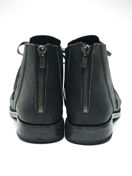 (予約品)12月中旬〜下旬入荷予定/Portaille・ポルタユ/Filled steer Backzip balmoral boots/BLK